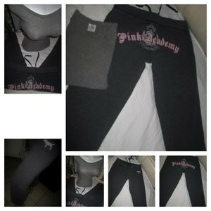 2 Pc PINK Victoria's Secret gray Sweatpants TEE XS